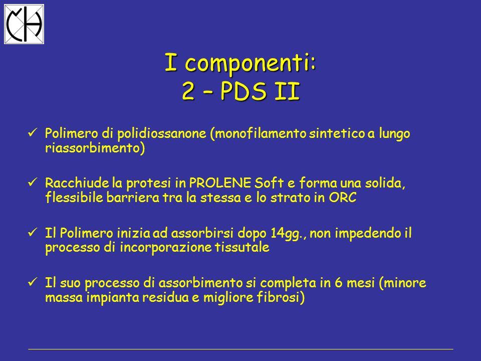 I componenti: 2 – PDS II Polimero di polidiossanone (monofilamento sintetico a lungo riassorbimento) Racchiude la protesi in PROLENE Soft e forma una
