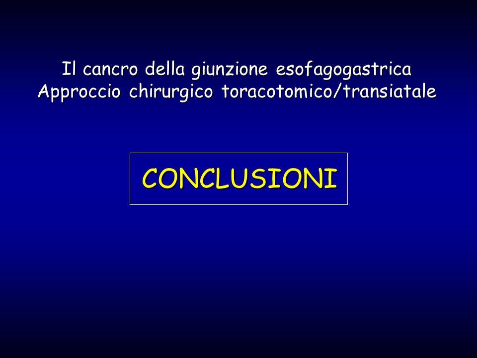 CONCLUSIONI Il cancro della giunzione esofagogastrica Approccio chirurgico toracotomico/transiatale