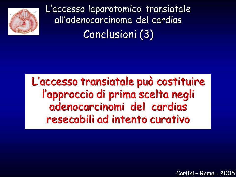 Laccesso transiatale può costituire lapproccio di prima scelta negli adenocarcinomi del cardias resecabili ad intento curativo Laccesso laparotomico t