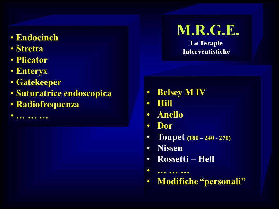 Endocinch Stretta Plicator Enteryx Gatekeeper Suturatrice endoscopica Radiofrequenza … … … M.R.G.E. Le Terapie Interventistiche Belsey M IV Hill Anell