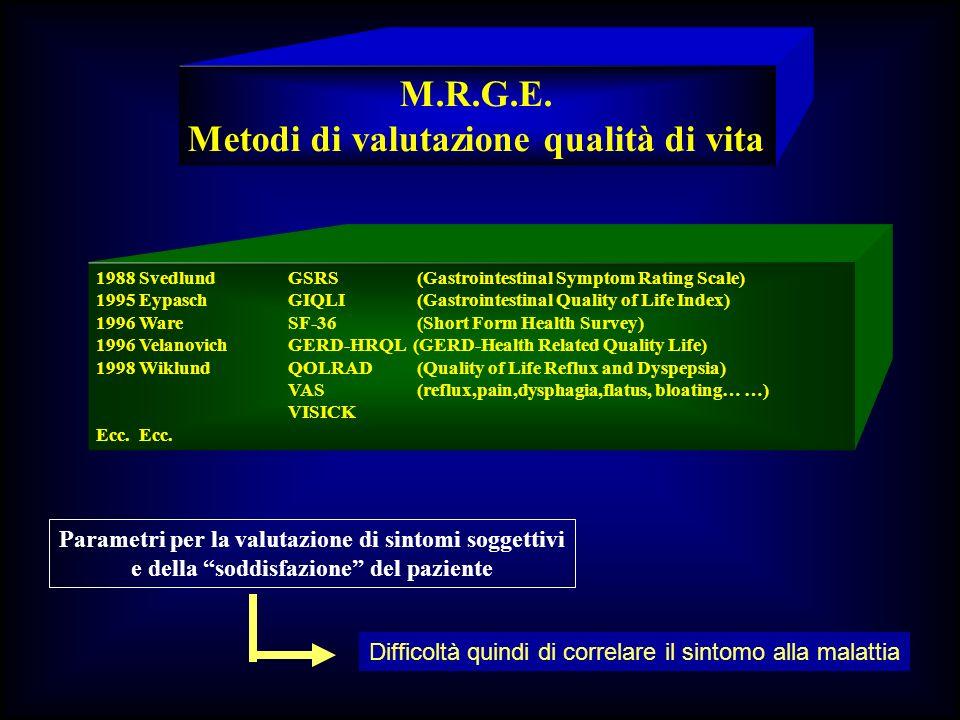 M.R.G.E. Metodi di valutazione qualità di vita 1988 SvedlundGSRS (Gastrointestinal Symptom Rating Scale) 1995 EypaschGIQLI (Gastrointestinal Quality o