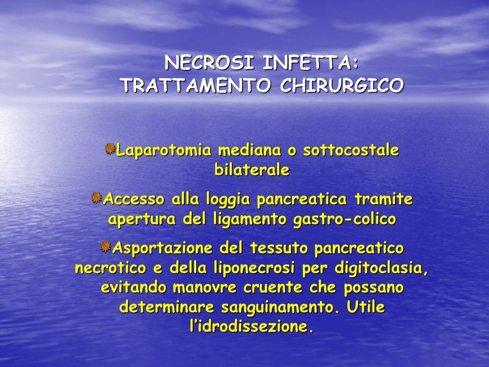 NECROSI INFETTA: TRATTAMENTO CHIRURGICO Laparotomia mediana o sottocostale bilaterale Accesso alla loggia pancreatica tramite apertura del ligamento g