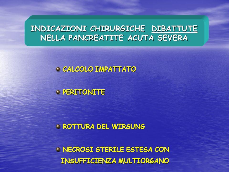 INDICAZIONI CHIRURGICHE DIBATTUTE NELLA PANCREATITE ACUTA SEVERA CALCOLO IMPATTATO CALCOLO IMPATTATO PERITONITE PERITONITE ROTTURA DEL WIRSUNG ROTTURA