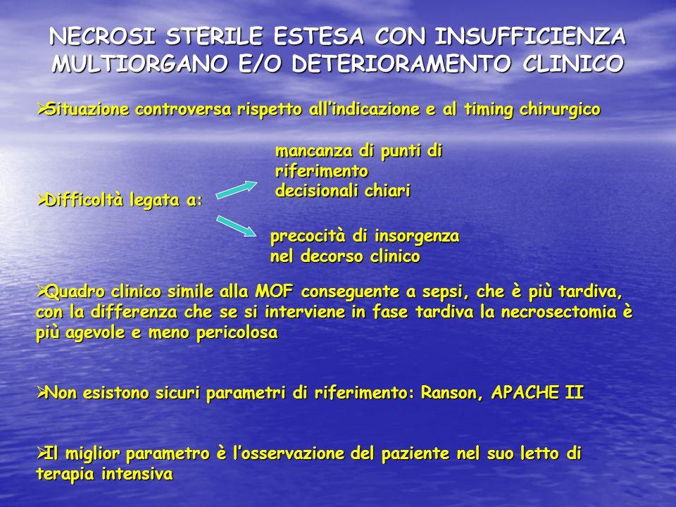 NECROSI STERILE ESTESA CON INSUFFICIENZA MULTIORGANO E/O DETERIORAMENTO CLINICO Situazione controversa rispetto allindicazione e al timing chirurgico