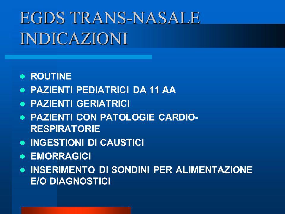 EGDS TRANS-NASALE INDICAZIONI ROUTINE PAZIENTI PEDIATRICI DA 11 AA PAZIENTI GERIATRICI PAZIENTI CON PATOLOGIE CARDIO- RESPIRATORIE INGESTIONI DI CAUST