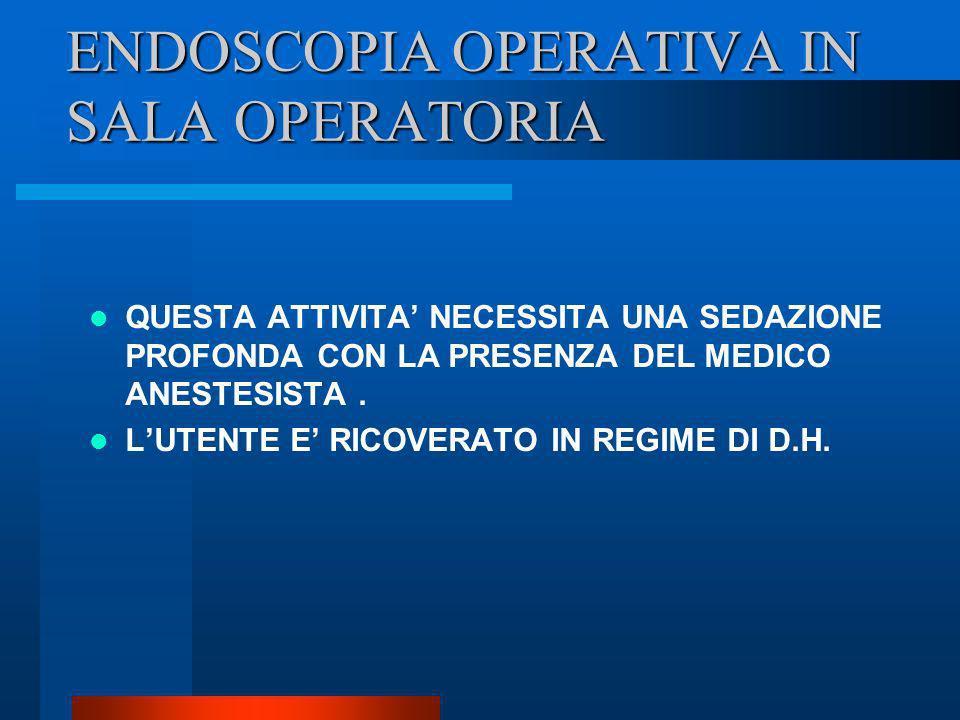 ENDOSCOPIA OPERATIVA IN SALA OPERATORIA QUESTA ATTIVITA NECESSITA UNA SEDAZIONE PROFONDA CON LA PRESENZA DEL MEDICO ANESTESISTA. LUTENTE E RICOVERATO