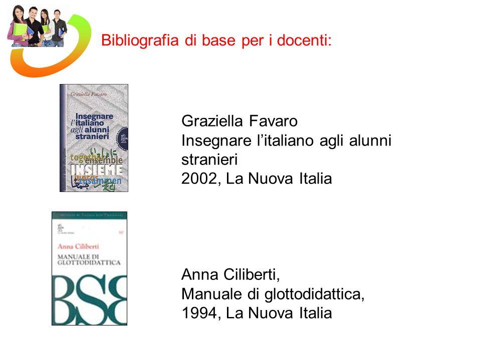 Graziella Favaro Insegnare litaliano agli alunni stranieri 2002, La Nuova Italia Anna Ciliberti, Manuale di glottodidattica, 1994, La Nuova Italia Bibliografia di base per i docenti: