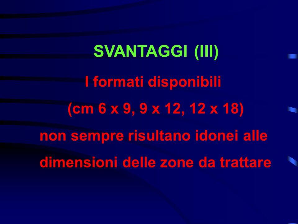 SVANTAGGI (III) I formati disponibili (cm 6 x 9, 9 x 12, 12 x 18) non sempre risultano idonei alle dimensioni delle zone da trattare