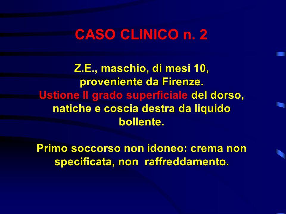 CASO CLINICO n. 2 Z.E., maschio, di mesi 10, proveniente da Firenze. Ustione II grado superficiale del dorso, natiche e coscia destra da liquido bolle