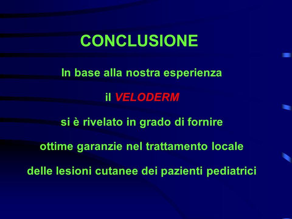 CONCLUSIONE In base alla nostra esperienza il VELODERM si è rivelato in grado di fornire ottime garanzie nel trattamento locale delle lesioni cutanee