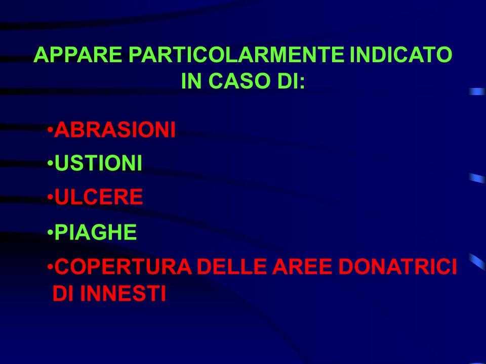 APPARE PARTICOLARMENTE INDICATO IN CASO DI: ABRASIONI USTIONI ULCERE PIAGHE COPERTURA DELLE AREE DONATRICI DI INNESTI