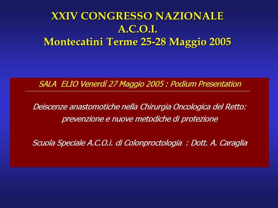 SALA ELIO Venerdì 27 Maggio 2005 : Podium Presentation Deiscenze anastomotiche nella Chirurgia Oncologica del Retto: prevenzione e nuove metodiche di