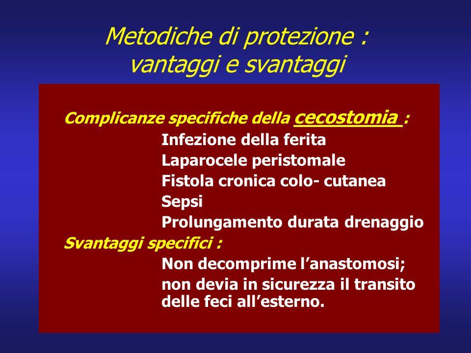 Metodiche di protezione : vantaggi e svantaggi Complicanze specifiche della cecostomia : Infezione della ferita Laparocele peristomale Fistola cronica