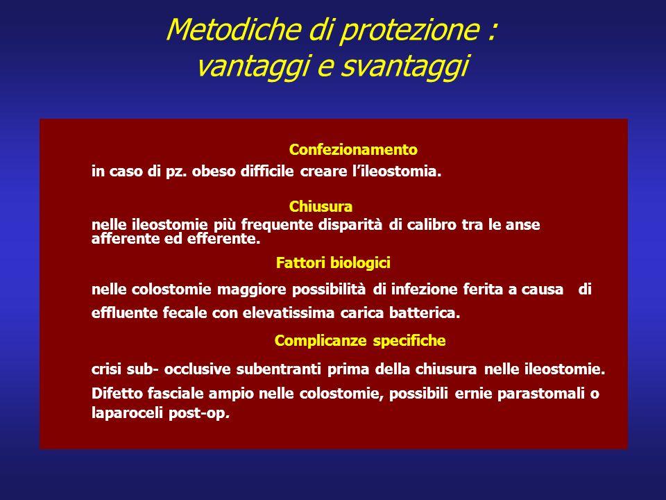 Metodiche di protezione : vantaggi e svantaggi Confezionamento in caso di pz. obeso difficile creare lileostomia. Chiusura nelle ileostomie più freque