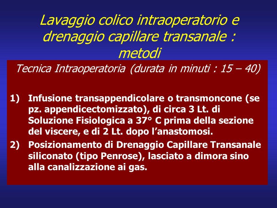 Lavaggio colico intraoperatorio e drenaggio capillare transanale : metodi Tecnica Intraoperatoria (durata in minuti : 15 – 40) 1)Infusione transappend