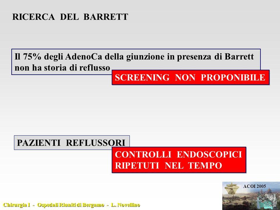 Il 75% degli AdenoCa della giunzione in presenza di Barrett non ha storia di reflusso RICERCA DEL BARRETT SCREENING NON PROPONIBILE PAZIENTI REFLUSSOR