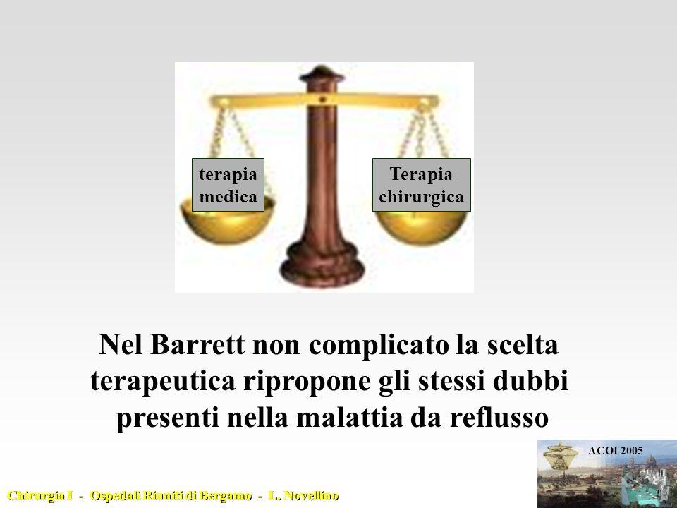 terapia medica Terapia chirurgica Nel Barrett non complicato la scelta terapeutica ripropone gli stessi dubbi presenti nella malattia da reflusso Chir