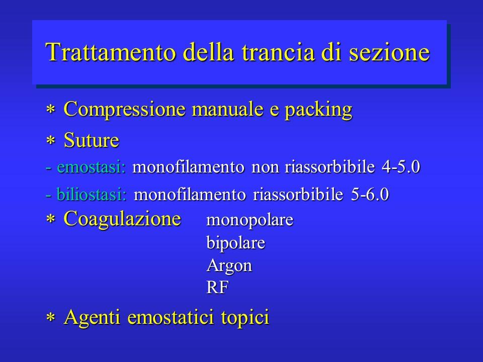 Trattamento della trancia di sezione Compressione manuale e packing Compressione manuale e packing Suture Suture - emostasi: monofilamento non riassor