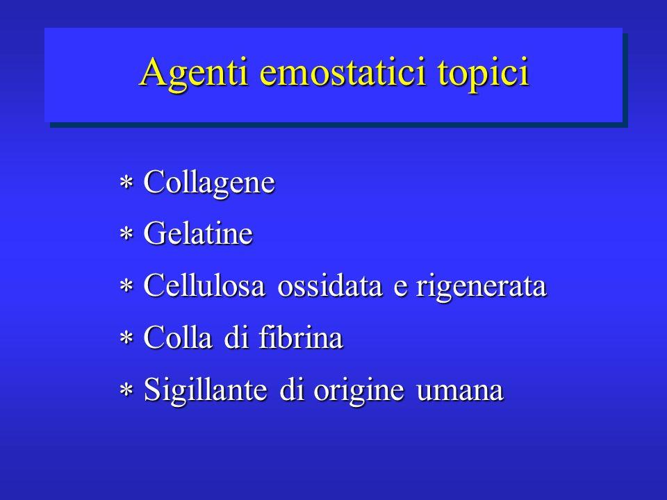Agenti emostatici topici Collagene Collagene Gelatine Gelatine Cellulosa ossidata e rigenerata Cellulosa ossidata e rigenerata Colla di fibrina Colla