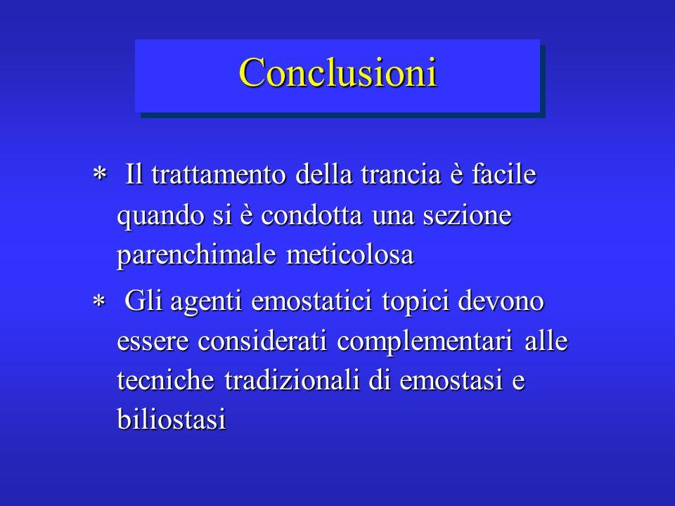 Conclusioni Il trattamento della trancia è facile quando si è condotta una sezione parenchimale meticolosa Il trattamento della trancia è facile quand