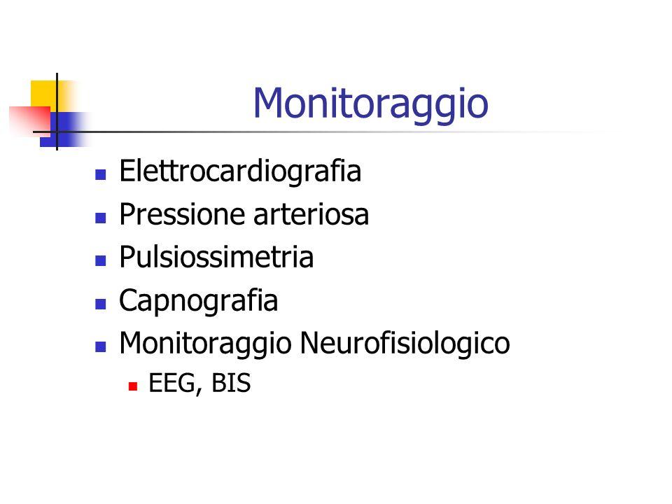 Monitoraggio Elettrocardiografia Pressione arteriosa Pulsiossimetria Capnografia Monitoraggio Neurofisiologico EEG, BIS