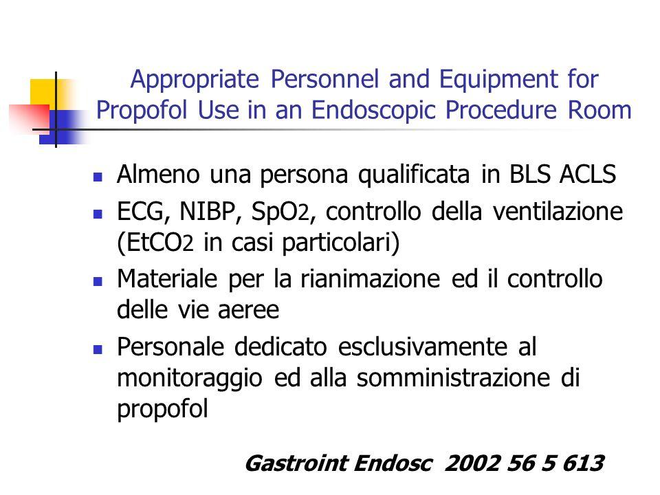 Appropriate Personnel and Equipment for Propofol Use in an Endoscopic Procedure Room Almeno una persona qualificata in BLS ACLS ECG, NIBP, SpO 2, cont