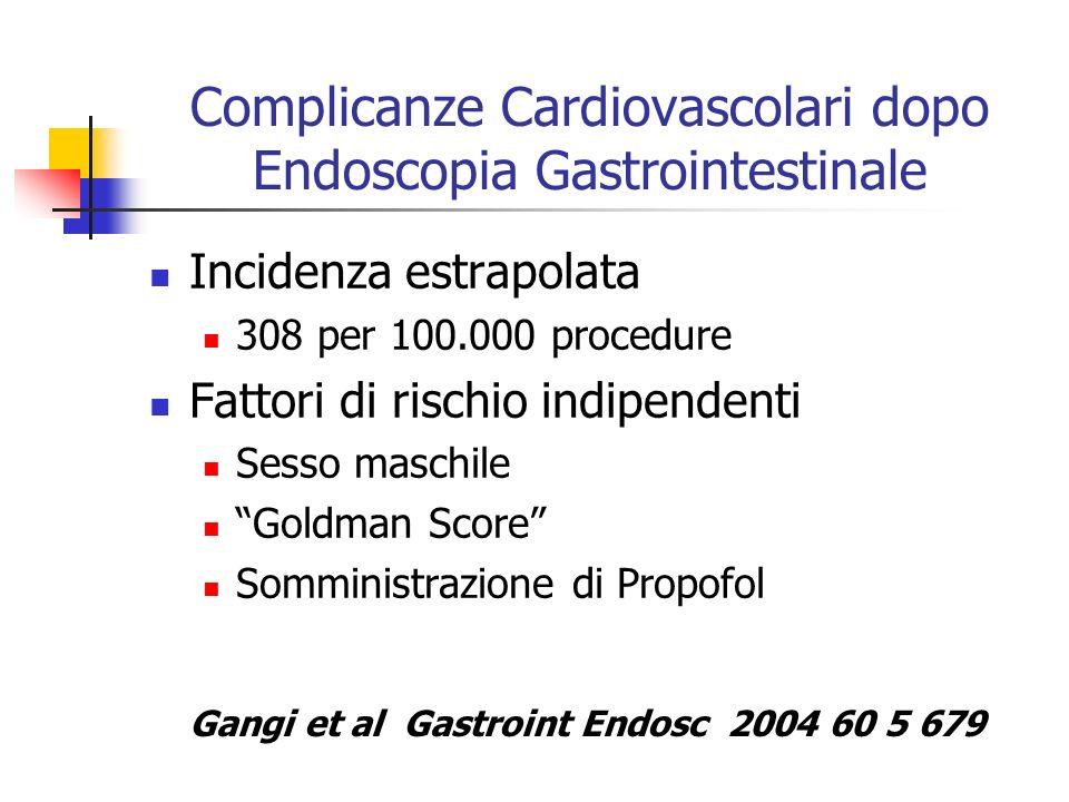 Complicanze Cardiovascolari dopo Endoscopia Gastrointestinale Incidenza estrapolata 308 per 100.000 procedure Fattori di rischio indipendenti Sesso ma