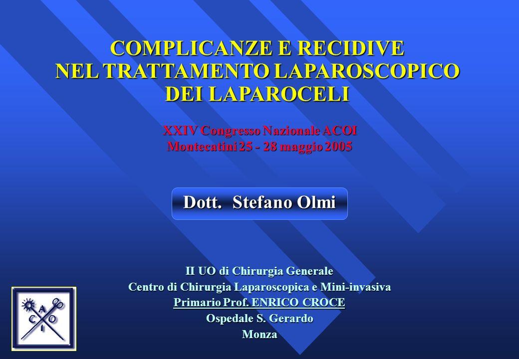 Dott. Stefano Olmi II UO di Chirurgia Generale Centro di Chirurgia Laparoscopica e Mini-invasiva Primario Prof. ENRICO CROCE Ospedale S. Gerardo Monza