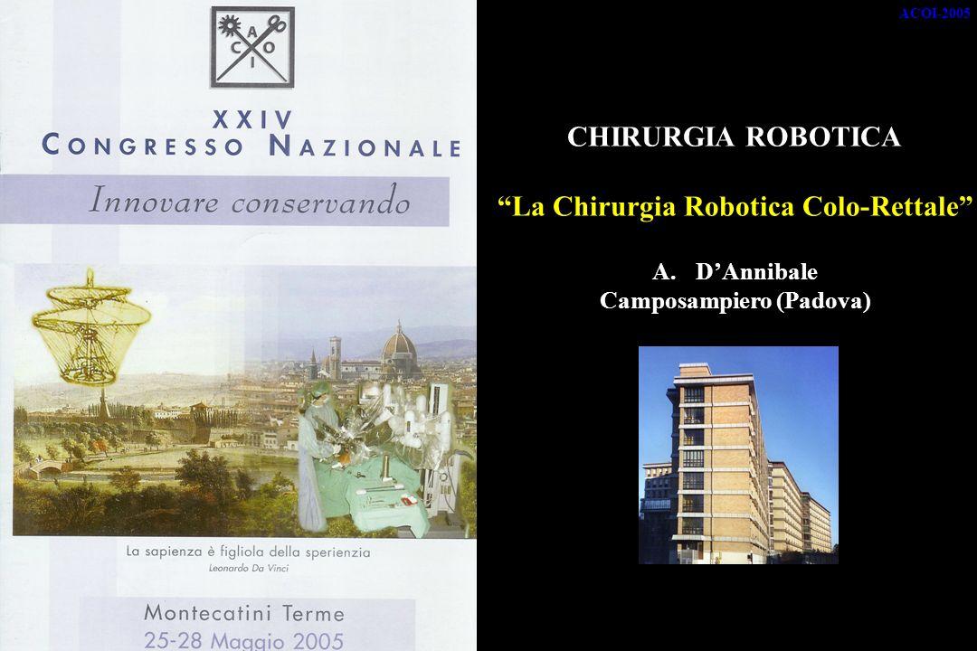 ACOI-2005 CHIRURGIA ROBOTICA La Chirurgia Robotica Colo-Rettale A.DAnnibale Camposampiero (Padova)