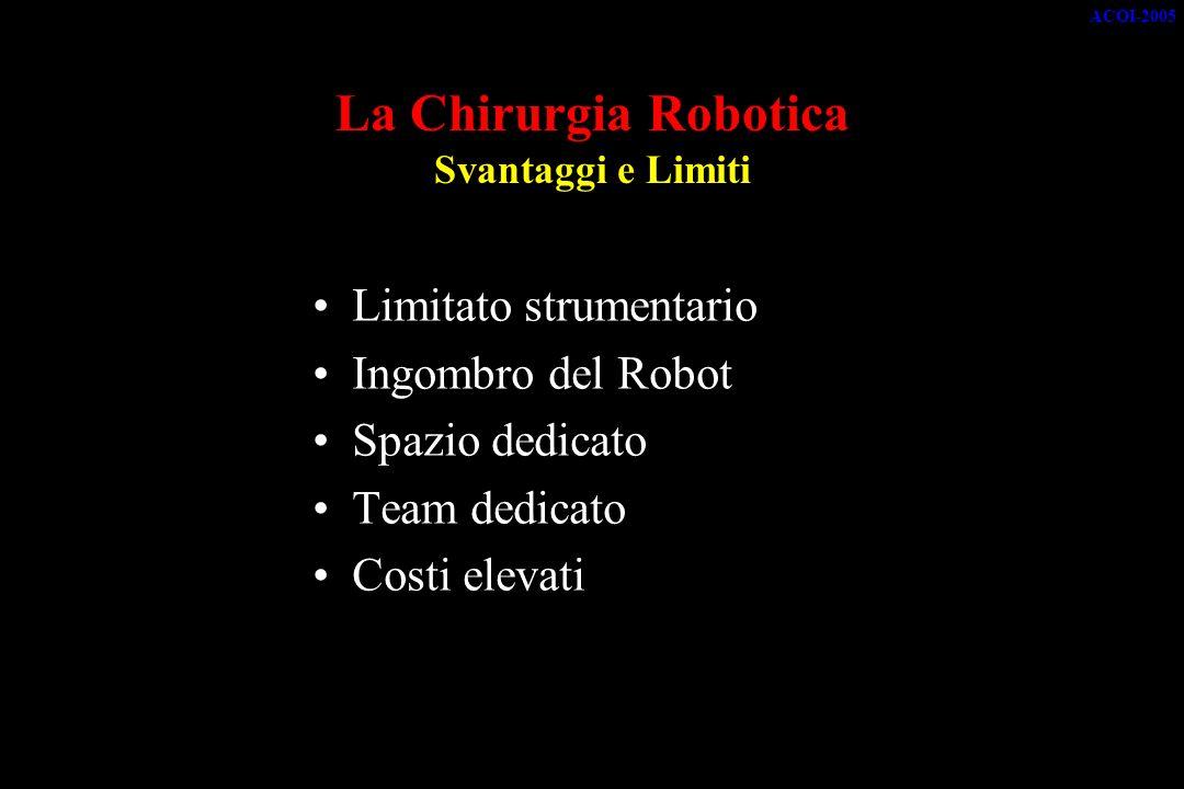 La Chirurgia Robotica Svantaggi e Limiti Limitato strumentario Ingombro del Robot Spazio dedicato Team dedicato Costi elevati ACOI-2005