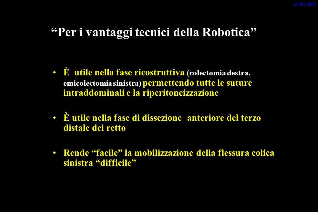 Per i vantaggi tecnici della Robotica È utile nella fase ricostruttiva (colectomia destra, emicolectomia sinistra) permettendo tutte le suture intraddominali e la riperitoneizzazione È utile nella fase di dissezione anteriore del terzo distale del retto Rende facile la mobilizzazione della flessura colica sinistra difficile ACOI-2005
