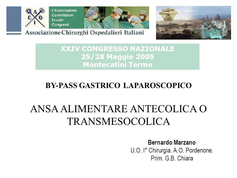 XXIV CONGRESSO NAZIONALE 25/28 Maggio 2005 Montecatini Terme BY-PASS GASTRICO LAPAROSCOPICO ANSA ALIMENTARE ANTECOLICA O TRANSMESOCOLICA Bernardo Marz