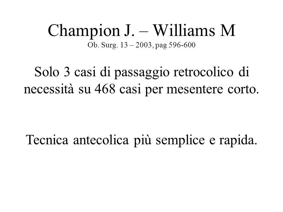 Champion J. – Williams M Ob. Surg. 13 – 2003, pag 596-600 Solo 3 casi di passaggio retrocolico di necessità su 468 casi per mesentere corto. Tecnica a