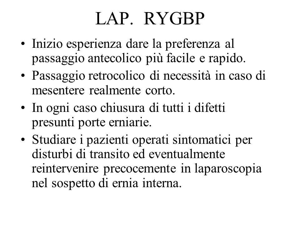LAP. RYGBP Inizio esperienza dare la preferenza al passaggio antecolico più facile e rapido. Passaggio retrocolico di necessità in caso di mesentere r