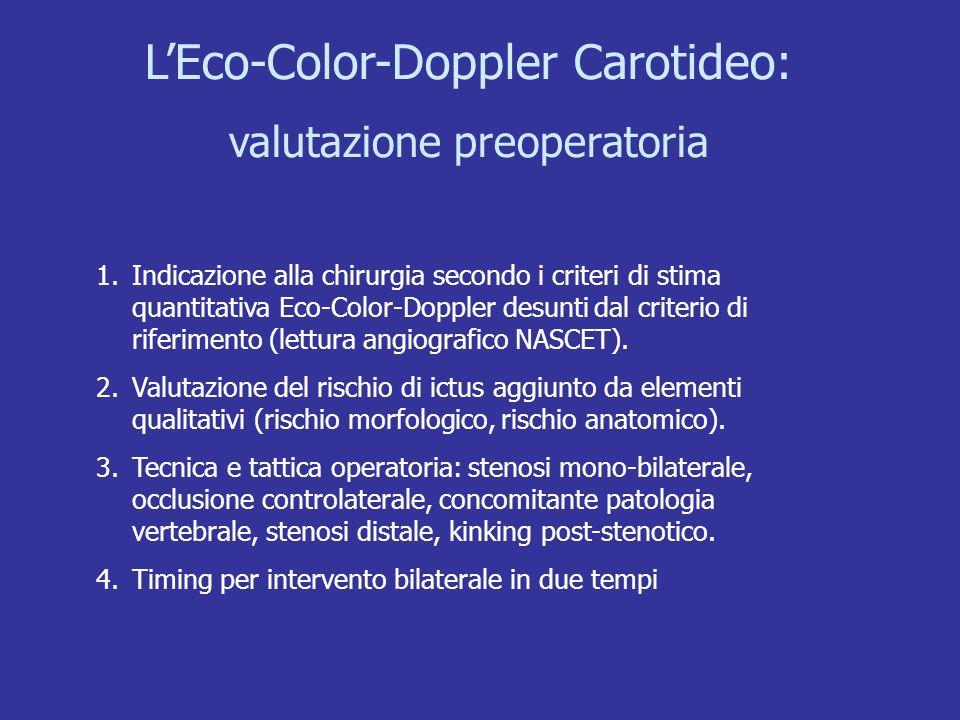 LEco-Color-Doppler Carotideo: valutazione preoperatoria 1.Indicazione alla chirurgia secondo i criteri di stima quantitativa Eco-Color-Doppler desunti