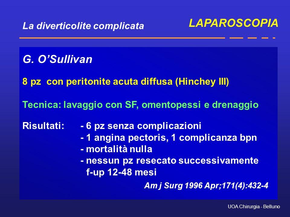 La diverticolite complicata UOA Chirurgia - Belluno G. OSullivan 8 pz con peritonite acuta diffusa (Hinchey III) Tecnica: lavaggio con SF, omentopessi