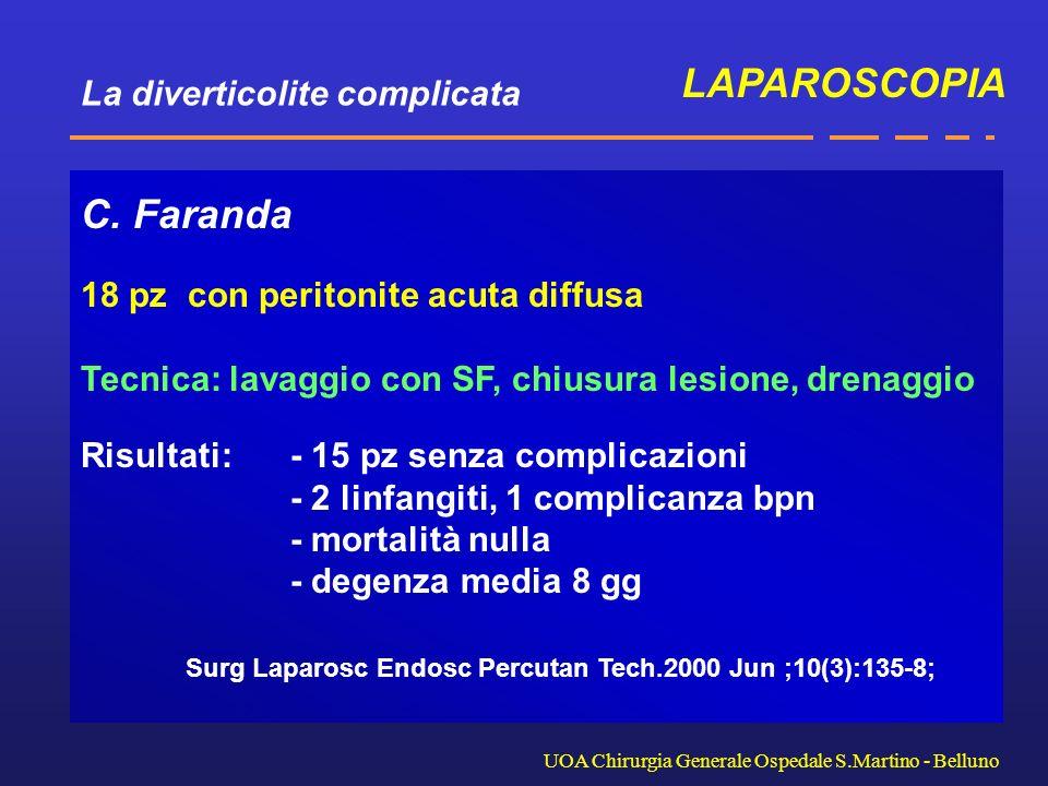 La diverticolite complicata UOA Chirurgia Generale Ospedale S.Martino - Belluno C. Faranda 18 pz con peritonite acuta diffusa Tecnica: lavaggio con SF