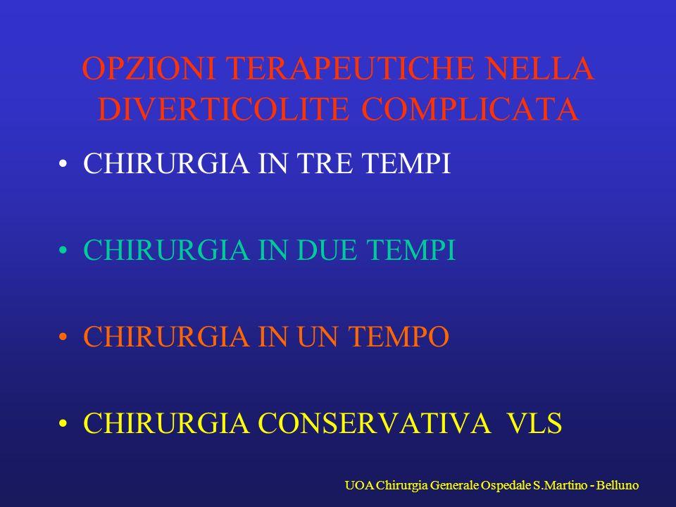 La diverticolite complicata UOA Chirurgia Generale Ospedale S.Martino - Belluno C.
