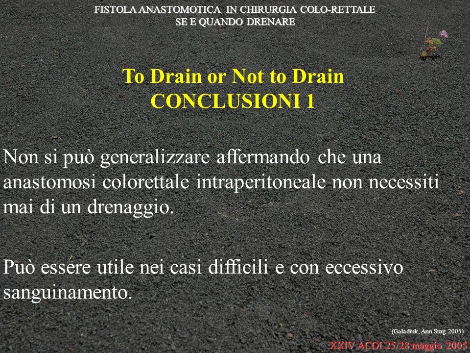 To Drain or Not to Drain CONCLUSIONI 1 Non si può generalizzare affermando che una anastomosi colorettale intraperitoneale non necessiti mai di un dre