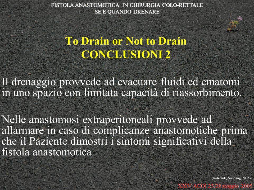 To Drain or Not to Drain CONCLUSIONI 2 Il drenaggio provvede ad evacuare fluidi ed ematomi in uno spazio con limitata capacità di riassorbimento. Nell