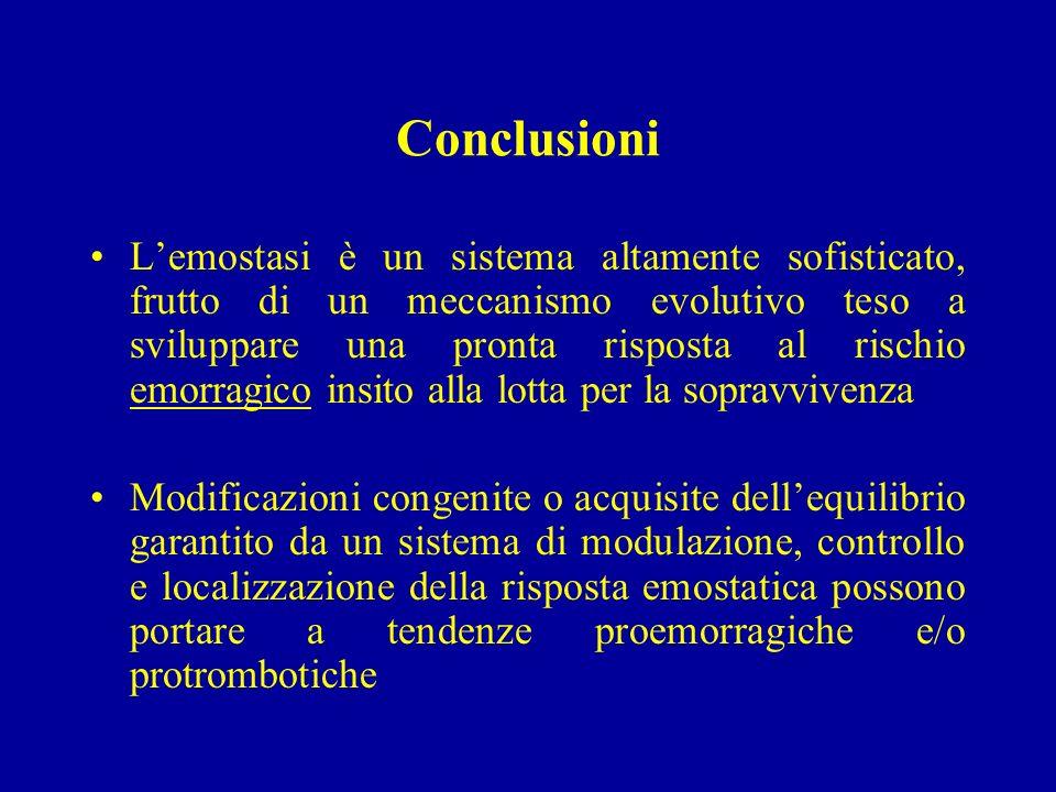 Conclusioni Lemostasi è un sistema altamente sofisticato, frutto di un meccanismo evolutivo teso a sviluppare una pronta risposta al rischio emorragic