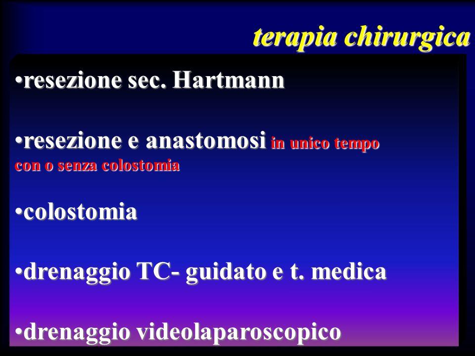 resezione sec. Hartmannresezione sec. Hartmann resezione e anastomosi in unico temporesezione e anastomosi in unico tempo con o senza colostomia colos