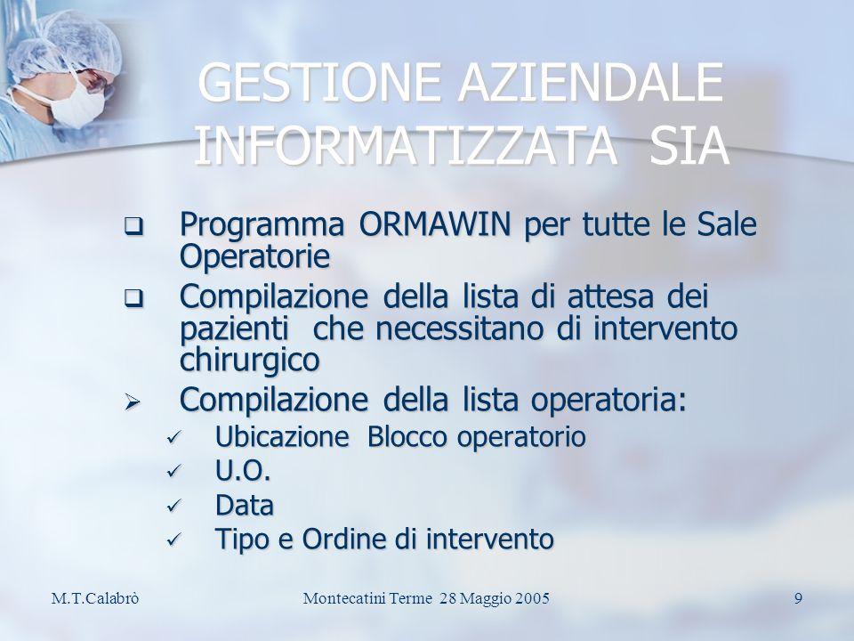 M.T.CalabròMontecatini Terme 28 Maggio 20058 GESTIONE AZIENDALE INFORMATIZZATA S.I.A.