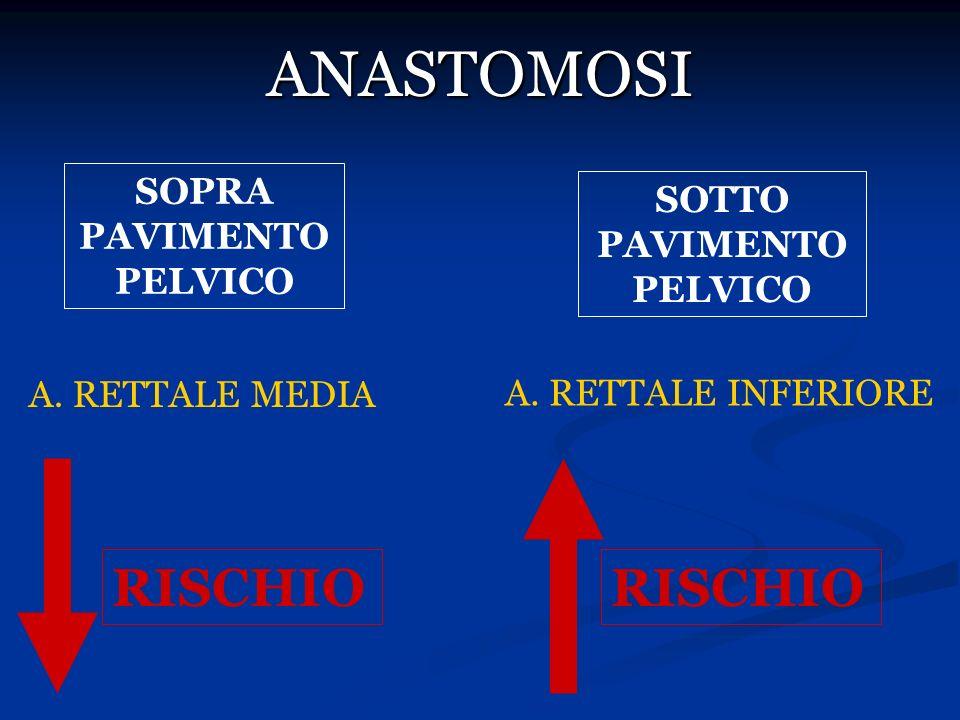 ANASTOMOSI SOPRA PAVIMENTO PELVICO SOTTO PAVIMENTO PELVICO A. RETTALE MEDIA A. RETTALE INFERIORE RISCHIO