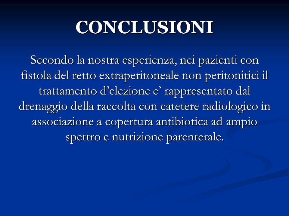 CONCLUSIONI Secondo la nostra esperienza, nei pazienti con fistola del retto extraperitoneale non peritonitici il trattamento delezione e rappresentat