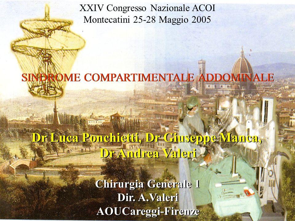 XXIV Congresso Nazionale ACOI Montecatini 25-28 Maggio 2005 SINDROME COMPARTIMENTALE ADDOMINALE Dr Luca Ponchietti, Dr Giuseppe Manca, Dr Andrea Valer