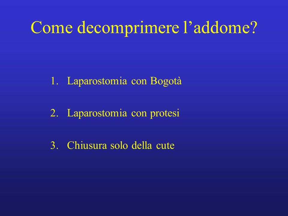 Come decomprimere laddome? 1.Laparostomia con Bogotà 2.Laparostomia con protesi 3.Chiusura solo della cute