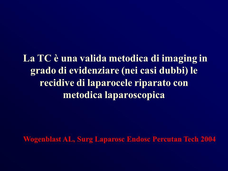 La TC è una valida metodica di imaging in grado di evidenziare (nei casi dubbi) le recidive di laparocele riparato con metodica laparoscopica Wogenbla