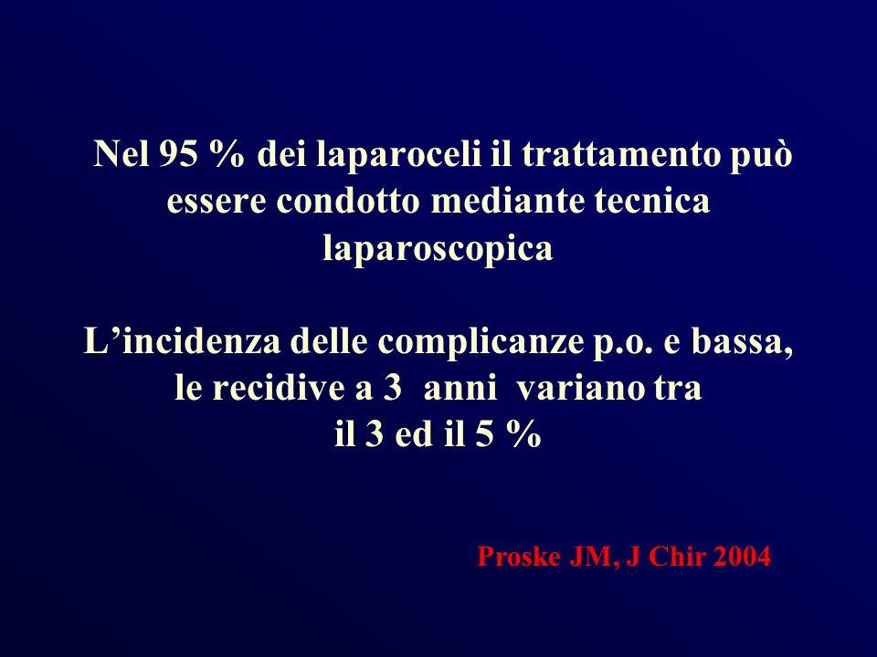 Nel 95 % dei laparoceli il trattamento può essere condotto mediante tecnica laparoscopica Lincidenza delle complicanze p.o. e bassa, le recidive a 3 a
