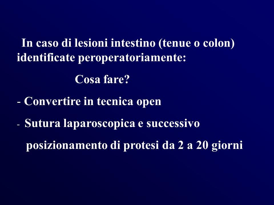 In caso di lesioni intestino (tenue o colon) identificate peroperatoriamente: Cosa fare? - Convertire in tecnica open - Sutura laparoscopica e success
